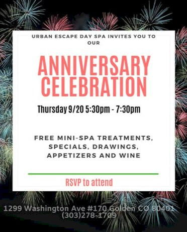 Urban Escape Day Spa 11th Anniversary Celebration - Golden Colorado