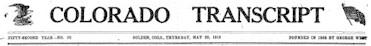 1918 Colorado Transcript - Golden Colorado