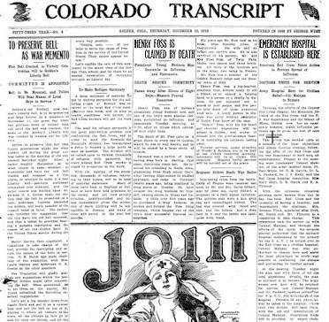 Colorado Transcript, December 12, 1918 - Influenza Epidemic in Golden Colorado