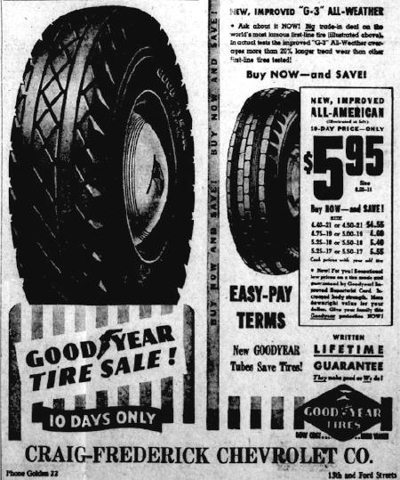 Tire advertisement from a 1941 Transcript