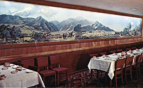 postcard showing the Shelton mural hanging in the Holland House dining room
